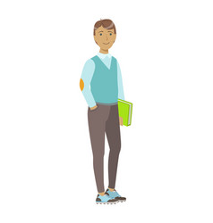 smiling college student standing and holding book vector image vector image