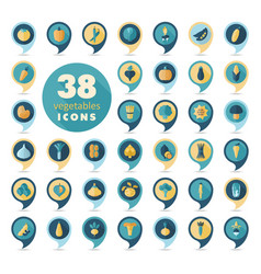 Vegetables flat retro pin map icons set vector