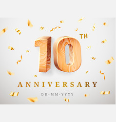 10 anniversary gold wooden numbers with golden vector image