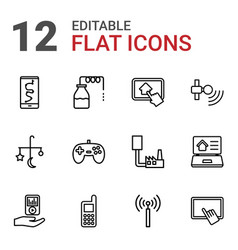 12 mobile icons vector