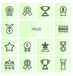 14 prize icons vector image
