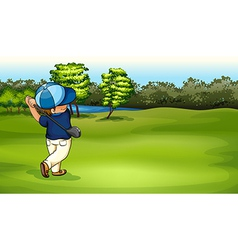 A boy playing golf vector