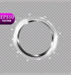 Abstract luxury metal ring on transparent vector