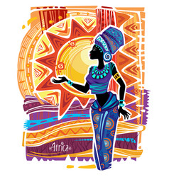 african woman in ethnic dress on ornament vector image