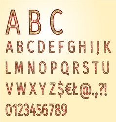Alphabet of ornaments gold background vector