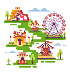 amusement park flat elements with carousels vector image