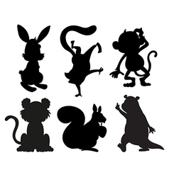 Animals in black and gray colors vector image