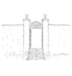 artistic drawing of decorated garden gate with vector image