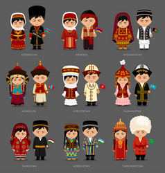 Asians in national dress vector