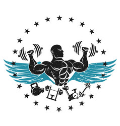 athlete with dumbbells symbol for the gym vector image