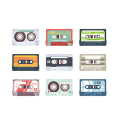 audio cassettes retro 90s record stereo tape vector image