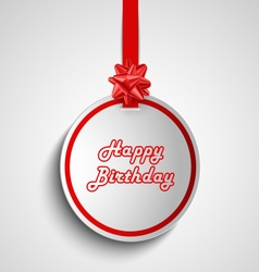 Birthday card with red round sign pointer template vector image