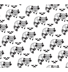 Black and white seamless pattern with raccoons vector image