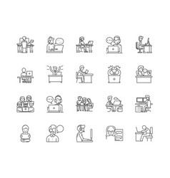 blog line icons signs set outline vector image