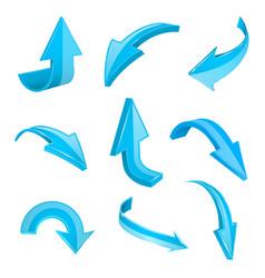 blue 3d shiny arrows set of bent icons vector image