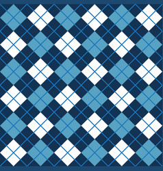 Blue and white argyle harlequin seamless pattern vector