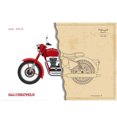 blueprint retro motorcycle in outline style vector image
