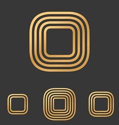 Bronze line rectangle logo design set vector