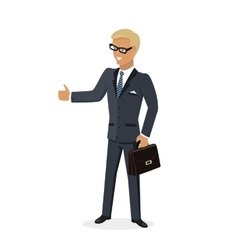 Businesman Show Gesture Thumb Up vector image