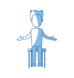 Businessman sitting office chair cartoon calm pose vector