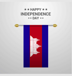 Cambodia independence day hanging flag background vector