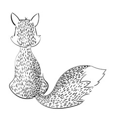 cartoon fox sitting with her back stylized black vector image