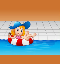 Cartoon girl floating with lifebuoy in swimming po vector