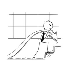 cartoon of businessman carry graph chart arrow up vector image