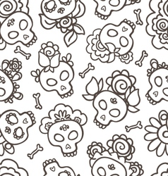 catrinas hand drawn pattern vector image