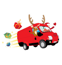christmas reindeer and santa claus driving a van vector image