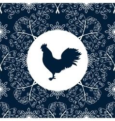 Cock silhouette bird pattern new year symbol 2017 vector