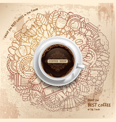 Coffee Grunge Pattern Template vector