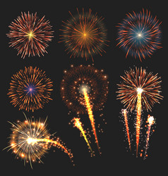 collection festive fireworks of various colors vector image