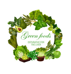 Color diet green food vegan veggies nutrition vector