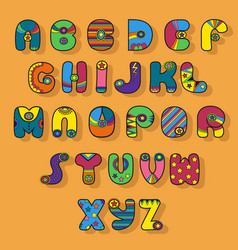 colorful alphabet superhero style vector image