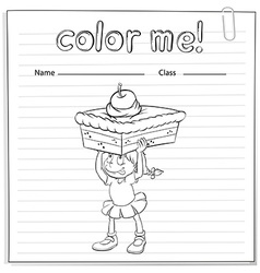 Coloring worksheet with a girl carrying a cake vector image