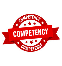 competency ribbon competency round red sign vector image