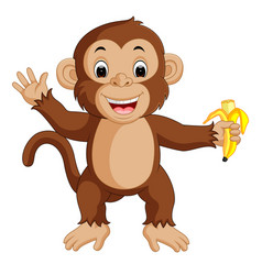 Cute monkey cartoon eating banana vector
