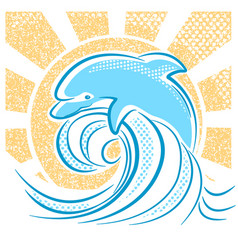 dolphin jumping in water waves vector image
