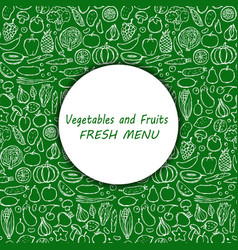 Doodle vegetarian food menu cover vector