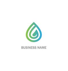 droplet green leaf organic bio logo vector image
