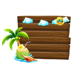 Empty wooden signboards with beach templates vector