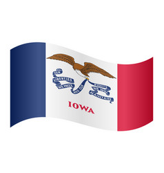 flag of iowa waving on white background vector image vector image