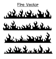 Flame fire icon set vector
