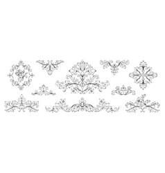Floral baroque ornaments vintage victorian frame vector
