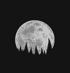 Forest on full moon background vector