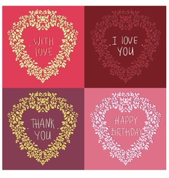 four wreath in the shape of the heart with text vector image vector image