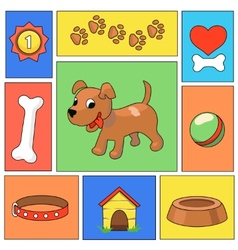 Funny cartoon dog and icons vector image