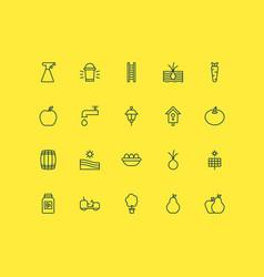 Garden icons set collection of lantern nectarine vector
