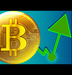 Golden bitcoin financial stock market growth vector